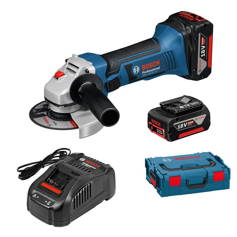 bosch cordless angle grinder gws 18 125 v li 2 batteries 6. Black Bedroom Furniture Sets. Home Design Ideas