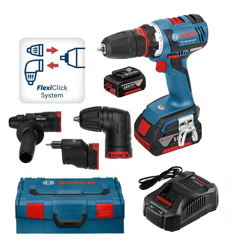 bosch battery drill gsr 18 v ec fc2 flexi click incl 2. Black Bedroom Furniture Sets. Home Design Ideas