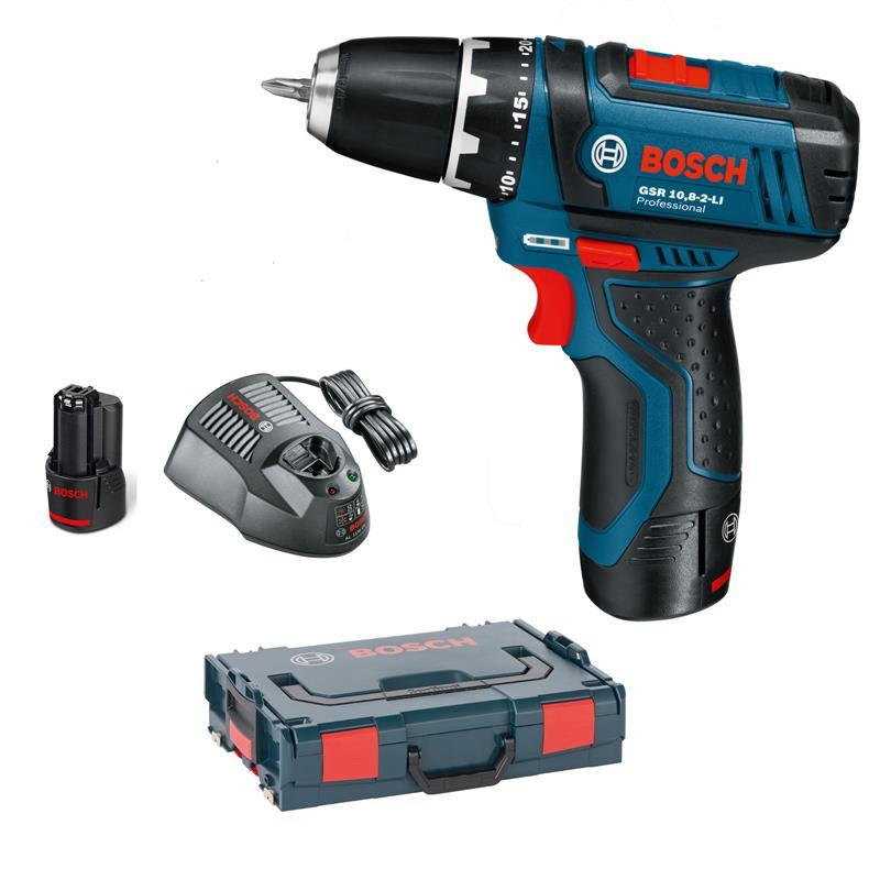 bosch cordless drill gsr 10 8 2 li incl 2 akkus 2 0 ah. Black Bedroom Furniture Sets. Home Design Ideas