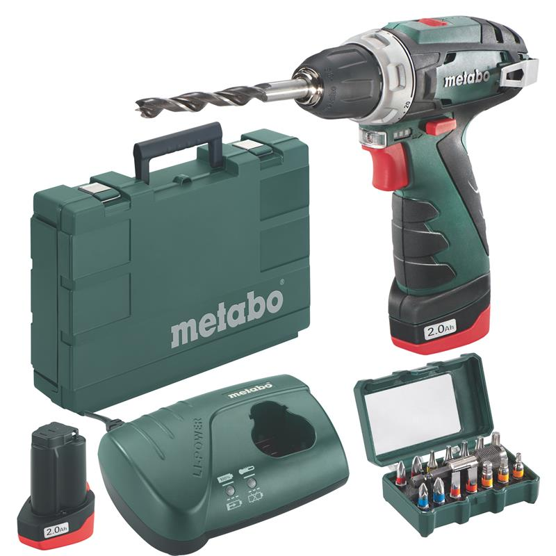 metabo batteria avvitatore powermaxx bs set 2x batteria 2 0ah in valigia incl bit set ebay. Black Bedroom Furniture Sets. Home Design Ideas