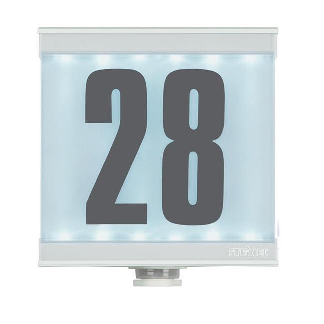 steinel bewegungsmelder is led mit beleuchteter hausnummer wei. Black Bedroom Furniture Sets. Home Design Ideas