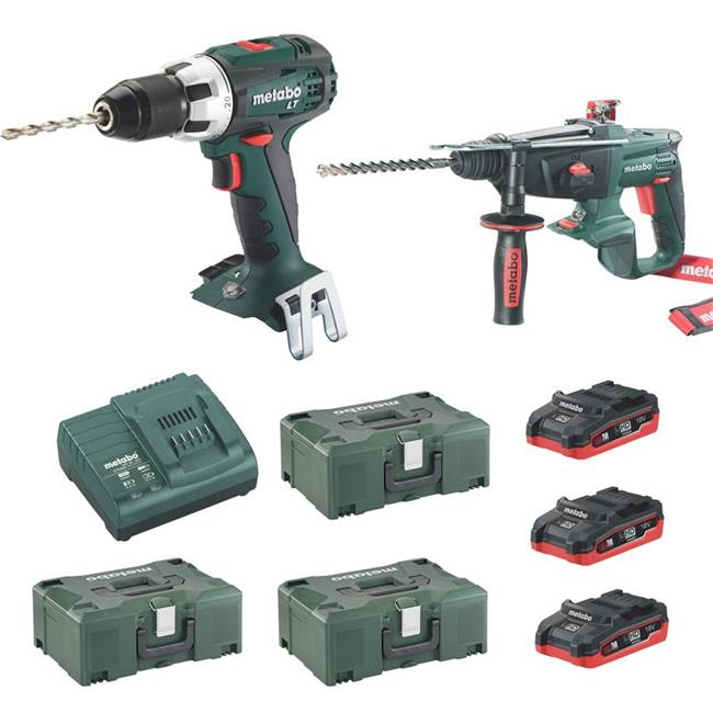 metabo 18 volt akku set bohrschrauber bs 18 lt kha 18 ltx bohrhammer ebay. Black Bedroom Furniture Sets. Home Design Ideas