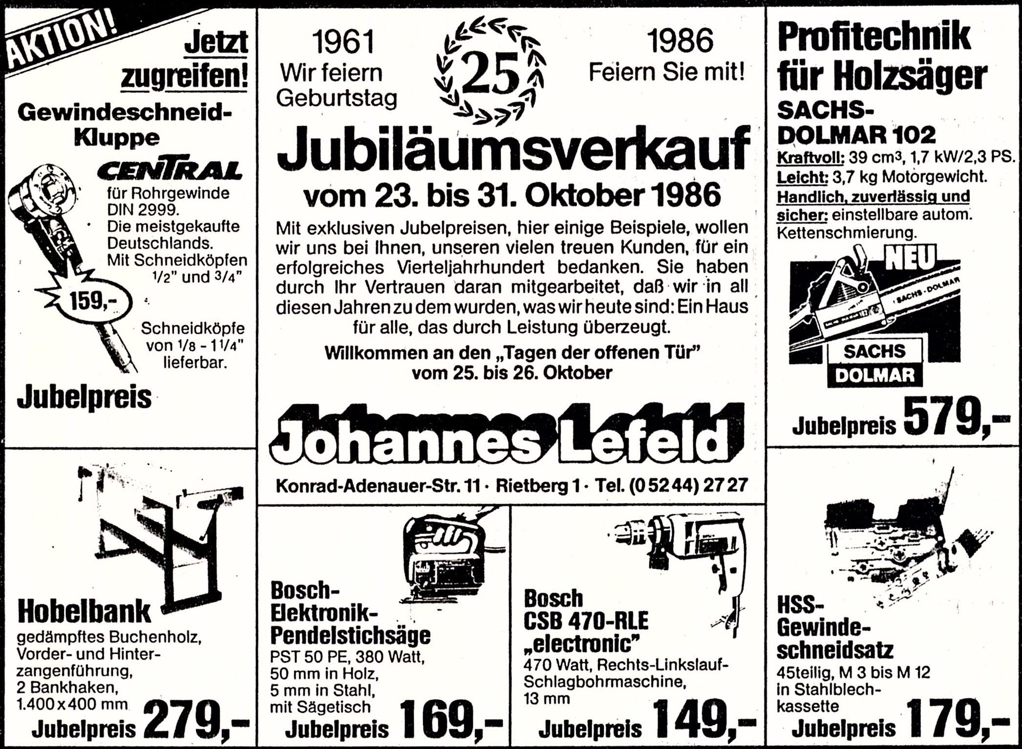 1986 Jubiläum 25 Jahre