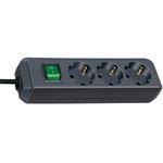 Brennenstuhl Eco-Line Steckdosenleiste mit Schalter 3-fach schwarz 3m 1152300400