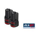 Bosch Ersatzakku 10,8 Volt 2,0 AH, LI-ION 2er Set