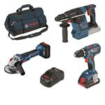 Bosch 18 Volt Akku-Profi-Set GSR 18 V-28, GWS 18 V-10, GBH 18 V-26 , 2 Akkus