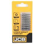 """JCB Impact Bit Set TORX 1/4"""" 8-teilig T10 bis T40 25 mm Schrauberbit Satz"""