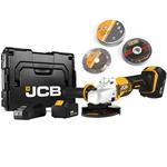 JCB Akku Winkelschleifer 115mm 18V inkl. 2x 5,0 Ah Akkus 13 tlg. Zubehör L-BOXX