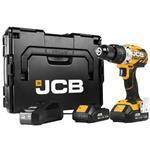 JCB 18V Akku-Schlagbohrschrauber Bürstenlos 2 x 2,0 Ah Akku und Ladegerät L-Boxx