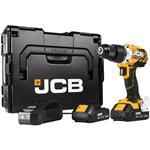 JCB Akku Bohrschrauber Bürstenlos 18V inkl. 2x 2,0 Ah Akkus Ladegerät und L-BOXX