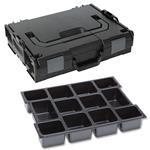 Sortimo Sortiments Kleinteile Koffer L-Boxx 102 schwarz mit 12 Fach Kleinteileinlage + Polster