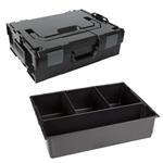 Sortimo Sortiments Kleinteile Koffer L-Boxx 136 schwarz mit 4 Fach Kleinteileinlage + Polster