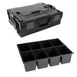 Sortimo Sortiments Kleinteile Koffer L-Boxx 136 schwarz mit 8 Fach Kleinteileinlage + Polster