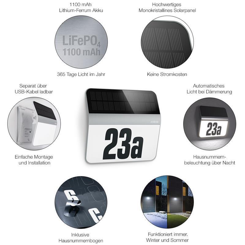 steinel xsolar lh n led hausnummern leuchte silber mit d mmerungsschalter ebay. Black Bedroom Furniture Sets. Home Design Ideas