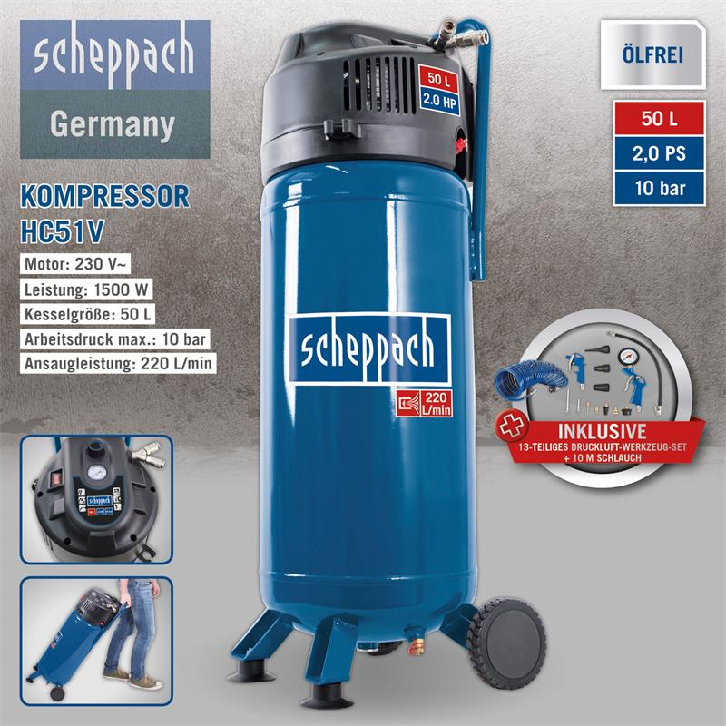 scheppach 50 liter kompressor hc51v plus 13tlg druckluft. Black Bedroom Furniture Sets. Home Design Ideas