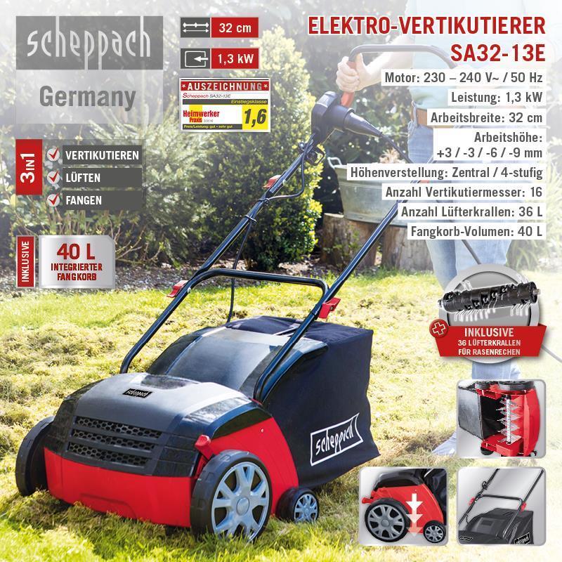 Scheppach Elektro-Vertikutierer SA32-13E Arbeitshöhe 32 cm 1300 W 5912003901