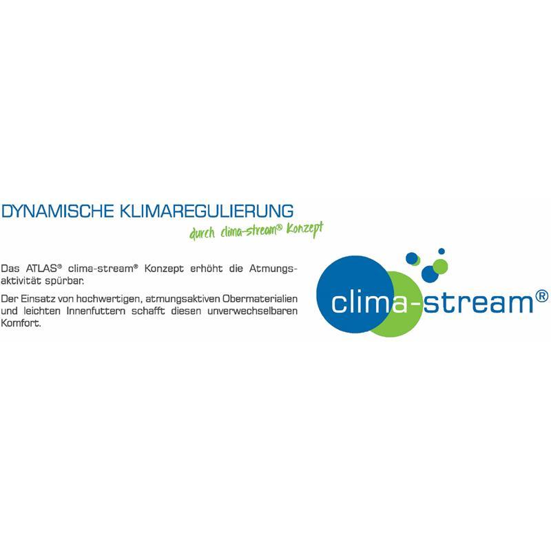 Dynamische Klimaregulierung - durch das clima-stream® Konzept: Das ATLAS® clima-stream® Konzept erhöht die Atmungsaktivität spürbar. Der Einsatz von hochwertigen, atmungsaktiven Obermaterialien und leichten Innenfuttern schafft diesen unverwechselbaren Komfort.