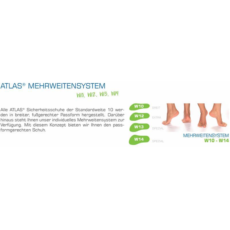 ATLAS® Mehrweitensystem - W10 (Breit), W12 (Extra), W13 (Spezial), W14 (Spezial): Alle ATLAS® Sicherheitsschuhe der Standardweite 10 werden in breiter, fußgerechter Passform hergestellt. Darüber hinaus steht Ihnen unser individuelles Mehrweitensystem zur Verfügung. Mit diesem Konzept bieten wir Ihnen den passformgerechten Schuh.
