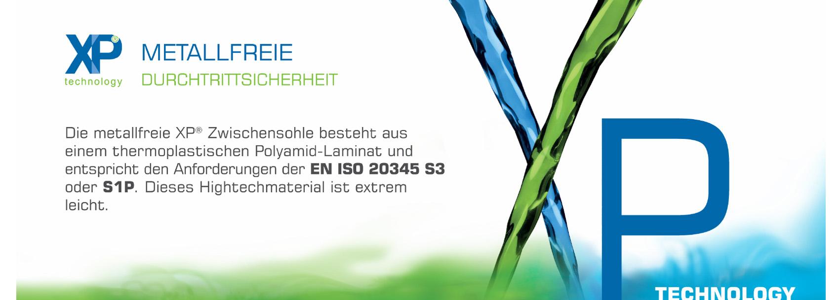 XP-Technology® - Metallfreie Durchtrittsicherheit: Die metallfreie XP® Zwischensohle besteht aus einem thermoplastischen Polyamid-Laminat und entspricht den Anforderungen der EN ISO 20345 S3 oder S1P. Dieses Hightechmaterial ist extrem leicht.