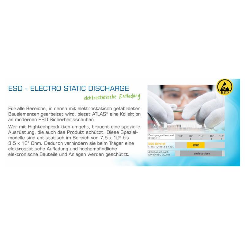 ESD - Electro Static Discharge - elektrostatische Entladung: Für alle Bereiche, in dene mit elekrostatisch gefährdeten Bauelementen gearbeitet wird, bietet ATLAS® eine Kollektion an modernen ESD Sicherheitsschuhen. Wer mit Hightechprodukten umgeht, braucht eine spezielle Ausrüstung, die auch das Produkt schützt. Diese Spezialmodelle sind antistatisch im Bereich von 7,5 x 10^5 bis 3,5 x 10^7 Ohm. Dadurch verhinden sie deim Träger eine elektrostatische Aufladung und hochempfindliche elektronische Bauteile und Anlagen werden geschützt.