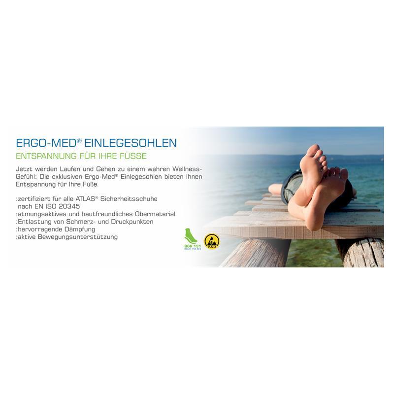 Ergo-Med® Einlegesohlen - Entspannung für Ihre Füsse: Jetzt werden Laufen und Gehen zu einem wahren Wellness-Gefühl: Die exklusiven Ergo-Med® Einlegesohlen bieten Ihnen Entspannung für Ihre Füße. Durch die Längstgewölbeunterstützung - in drei verschiedenen Stärken - passen sich die Einlegesohlen optimal Ihren Füßen an und sorgen so für eine angenehme Weichbettung. Empfindliche Schmerz- und Druckpunkte werden durch die hervorragende Dämpfung und eine gleichmäßige Gewichtsverteilung spürbar entlastet. Die hochwertigen Ergo-Med® Einlegesohlen sind für ATLAS® Sicherheitsschuhe nach EN ISO 20345 zertifiziert. Sie sind antistatisch und können somit auch in ESD-Schuhen getragen werden. Entspannung die Sie spüren: Schritt für Schritt.