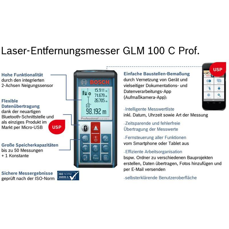 bosch laser entfernungsmesser glm 100 c ebay. Black Bedroom Furniture Sets. Home Design Ideas