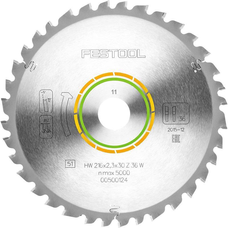 Festool Universal-Sägeblatt 216x2,3x30 W36 für Kapex KS 60 Holzwerkstoffe//Hölzer