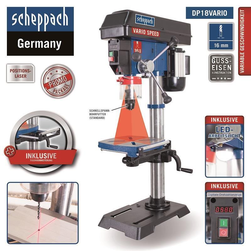 scheppach tischbohrmaschine dp18vario laser 550w lefeld. Black Bedroom Furniture Sets. Home Design Ideas