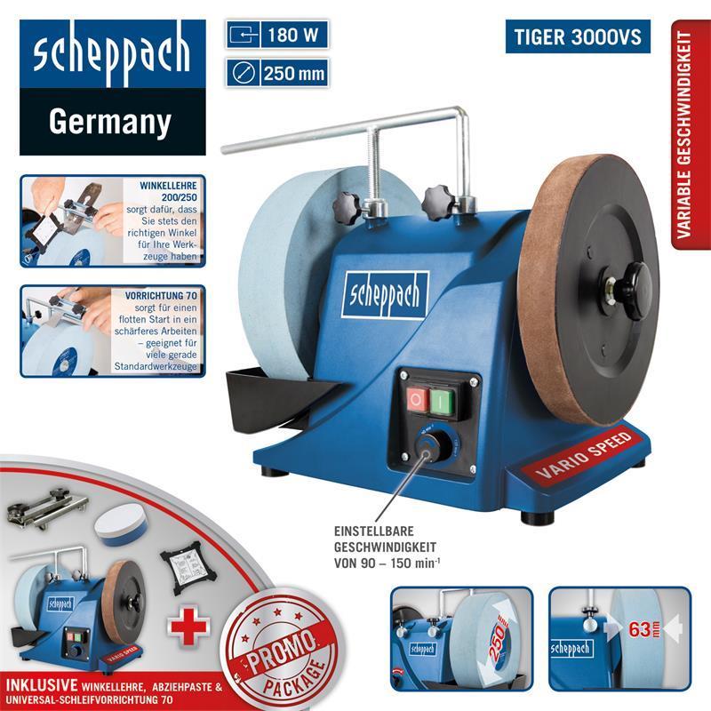 Nassschleifmaschine Scheppach SET Nass-Schleifsystem TiGer 2000s mit Zubehör